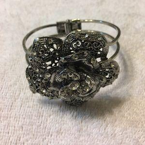 Jewelry - Antique silver rose and rhinestone bracelet.